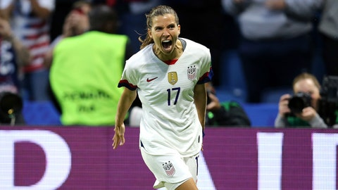 LE HAVRE, FRANCE - JUNE 20: Tobin Heath of the USA celebrates after scoring her team's second goal during the 2019 FIFA Women's World Cup France group F match between Sweden and USA at Stade Oceane on June 20, 2019 in Le Havre, France. (Photo by Maddie Meyer - FIFA/FIFA via Getty Images)