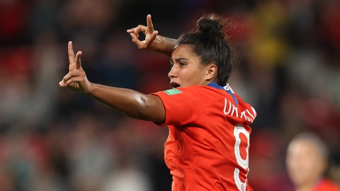 RENNES, FRANCE - JUNE 20: Maria Urrutia of Chile celebrates after scoring her team's second goal during the 2019 FIFA Women's World Cup France group F match between Thailand and Chile at Roazhon Park on June 20, 2019 in Rennes, France. (Photo by Catherine Ivill - FIFA/FIFA via Getty Images)