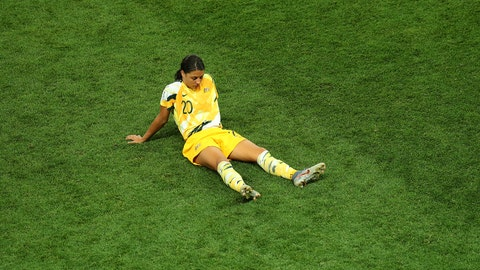 NICE, FRANCE - JUNE 22: Sam Kerr of Australia looks dejected after losing the penalty shoot out during the 2019 FIFA Women's World Cup France Round Of 16 match between Norway and Australia at Stade de Nice on June 22, 2019 in Nice, France. (Photo by Catherine Ivill - FIFA/FIFA via Getty Images)