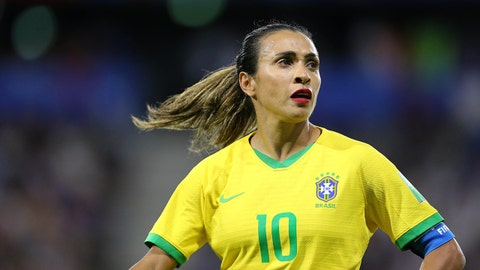 LE HAVRE, FRANCE - JUNE 23: Marta of Brazil looks on during the 2019 FIFA Women's World Cup France Round Of 16 match between France and Brazil at Stade Oceane on June 23, 2019 in Le Havre, France. (Photo by Maddie Meyer - FIFA/FIFA via Getty Images)