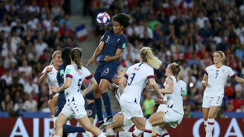 PARIS, FRANCE - JUNE 28:  Wendie Renard of France scores her team's first goal during the 2019 FIFA Women's World Cup France Quarter Final match between France and USA at Parc des Princes on June 28, 2019 in Paris, France. (Photo by Joosep Martinson - FIFA/FIFA via Getty Images)