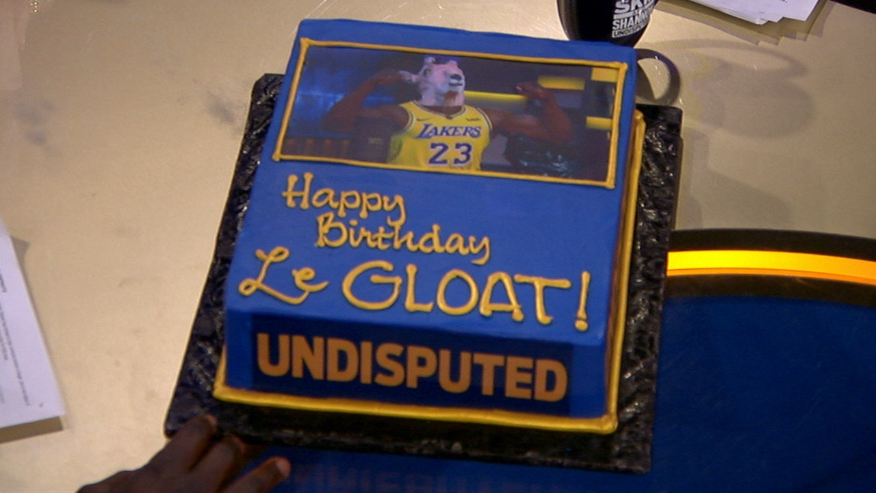 Skip Bayless gifts Shannon Sharpe a 'LeGLOAT' cake for his 51st birthday