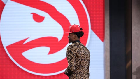 Jun 20, 2019; Brooklyn, NY, USA; Cam Reddish (Duke) walks onto the stage after being selected as the number ten overall pick to the Atlanta Hawks in the first round of the 2019 NBA Draft at Barclays Center. Mandatory Credit: Brad Penner-USA TODAY Sports