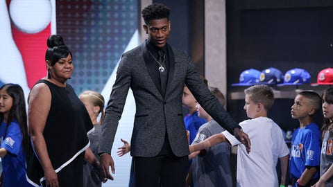 Jun 20, 2019; Brooklyn, NY, USA; De'Andre Hunter (Virginia) is introduced prior to the first round of the 2019 NBA Draft at Barclays Center. Mandatory Credit: Brad Penner-USA TODAY Sports