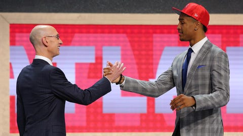 Jun 22, 2017; Brooklyn, NY, USA; John Collins (Wake Forest) is introduced by NBA commissioner Adam Silver as the number nineteen overall pick to the Atlanta Hawks in the first round of the 2017 NBA Draft at Barclays Center. Mandatory Credit: Brad Penner-USA TODAY Sports