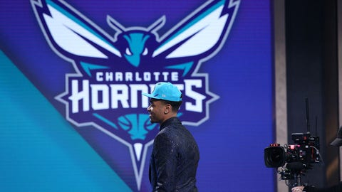 Jun 20, 2019; Brooklyn, NY, USA; PJ Washington (Kentucky) walks onto the stage after being selected as the number twelve overall pick to the Charlotte Hornets in the first round of the 2019 NBA Draft at Barclays Center. Mandatory Credit: Brad Penner-USA TODAY Sports