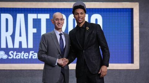 Jun 20, 2019; Brooklyn, NY, USA; Brandon Clarke (Gonzaga) greets NBA commissioner Adam Silver after being selected as the number twenty-one overall pick to theOklahoma City Thunder in the first round of the 2019 NBA Draft at Barclays Center. Mandatory Credit: Brad Penner-USA TODAY Sports