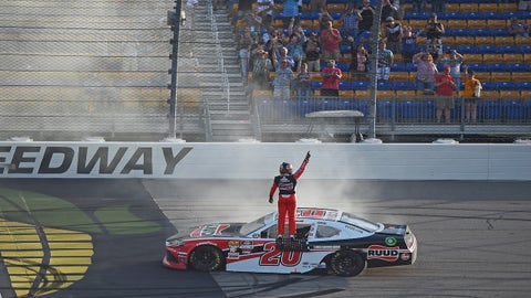 NEWTON, IOWA - JUNE 16: Christopher Bell, driver of the #20 Ruud Toyota, celebrates with a burnout after winning the NASCAR Xfinity Series CircuitCity.com 250 Presented by Tamron at Iowa Speedway on June 16, 2019 in Newton, Iowa. (Photo by Stacy Revere/Getty Images)