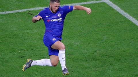 <p>               Chelsea's Eden Hazard celebrates after scoring his team's fourth goal during the Europa League Final soccer match between Chelsea and Arsenal at the Olympic stadium in Baku, Azerbaijan, Wednesday, May 29, 2019. (AP Photo/Dmitri Lovetsky)             </p>