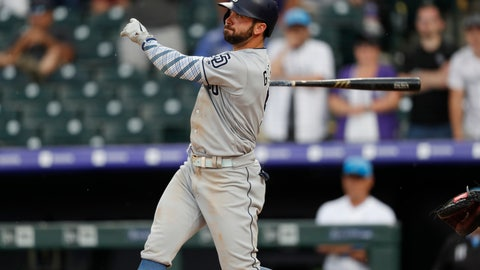 <p>               San Diego Padres' Greg Garcia follows the flight of his triple to drive in two runs off Colorado Rockies relief pitcher Wade Davis in the ninth inning of a baseball game Sunday, June 16, 2019, in Denver. (AP Photo/David Zalubowski)             </p>