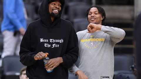 <p>               Golden State Warriors Kevin Durant, left, laughs with teammate Damion Lee during basketball practice at the NBA Finals in Toronto, Saturday, June 1, 2019. (Nathan Denette/The Canadian Press via AP)             </p>