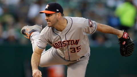 <p>               Houston Astros pitcher Justin Verlander works against the Oakland Athletics during the first inning of a baseball game Saturday, June 1, 2019, in Oakland, Calif. (AP Photo/Ben Margot)             </p>