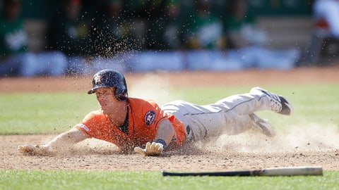 <p>               Houston Astros' Myles Straw slides to score against the Oakland Athletics in the 12th inning of a baseball game Sunday, June 2, 2019, in Oakland, Calif. (AP Photo/Ben Margot)             </p>