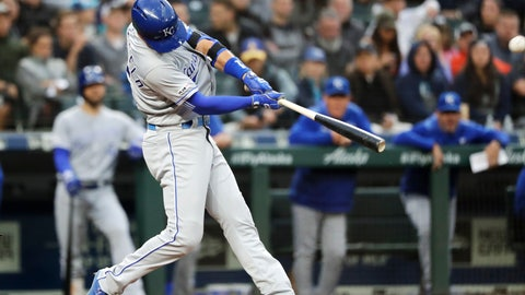<p>               Kansas City Royals' Whit Merrifield connects for a three-run home run against the Seattle Mariners during the fourth inning of a baseball game Tuesday, June 18, 2019, in Seattle. (AP Photo/Elaine Thompson)             </p>