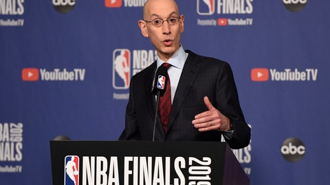 <p>               NBA Commissioner Adam Silver holds a news conference before Game 1 of basketball's NBA Finals between the Golden State Warriors and the Toronto Raptors, Thursday, May 30, 2019, in Toronto. (Frank Gunn/The Canadian Press via AP)             </p>