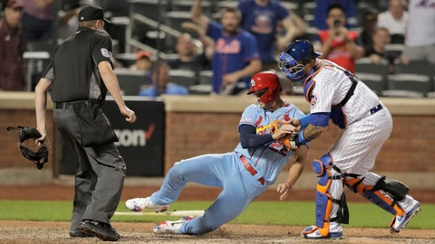 <p>               St. Louis Cardinals' Jack Flaherty, center, is tagged out by New York Mets catcher Wilson Ramos for the final out of a baseball game Saturday, June 15, 2019, in New York. The Mets won 8-7. (AP Photo/Julio Cortez)             </p>
