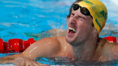 <p>               FILE - In this Aug. 1, 2013, file photo, Australia's James Magnussen grimaces as he leaves the pool after winning the gold medal in the Men's 100m freestyle final at the FINA Swimming World Championships in Barcelona, Spain. Two-time swimming world champion Magnussen said Wednesday, June 5, 2019, he is retiring after winning 15 medals for Australia at major international events over a 10-year career. (AP Photo/Daniel Ochoa de Olza, File)             </p>