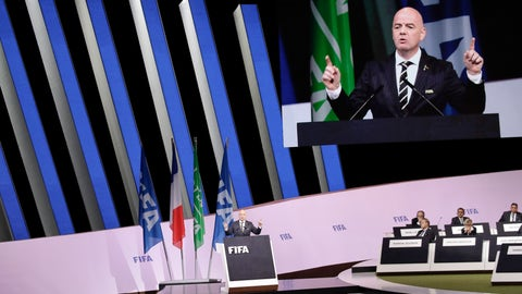 "<p>               FIFA President Gianni Infantino delivers his speech during the 69th FIFA congress in Paris, Wednesday, June 5, 2019. Hours ahead of his re-election unopposed, Infantino tells 211 member federations that today ""nobody talks about crisis."" (AP Photo/Alessandra Tarantino)             </p>"