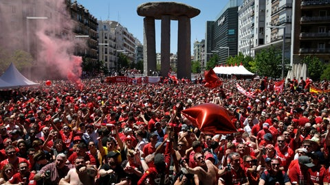 <p>               Liverpool supporters gather in a fan zone in downtown Madrid ahead of the Champions League final soccer match between Tottenham Hotspur and Liverpool at the Wanda Metropolitano Stadium in Madrid, Saturday, June 1, 2019. (AP Photo/Andrea Comas)             </p>