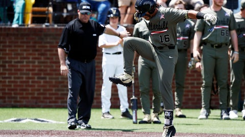 <p>               Vanderbilt's Austin Martin (16) stomps on home plate after hitting a home run in the first inning of an NCAA college super regional baseball game against Duke, Sunday, June 9, 2019, in Nashville, Tenn. (AP Photo/Wade Payne)             </p>