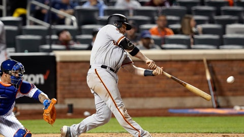 <p>               San Francisco Giants Stephen Vogt hits a two-run double during the tenth inning of a baseball game against the New York Mets, Tuesday, June 4, 2019, in New York. New York Mets catcher Wilson Ramos is behind the plate. (AP Photo/Kathy Willens)             </p>
