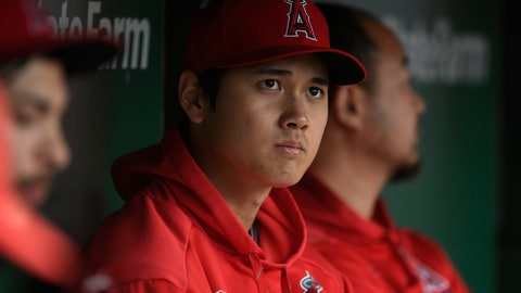 <p>               Los Angeles Angels' Shohei Ohtani of Japan, looks on from the dugout during the ninth inning of a baseball game against the Chicago Cubs, Monday, June 3, 2019, in Chicago. (AP Photo/Paul Beaty)             </p>