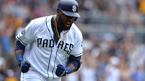 <p>               San Diego Padres' Franmil Reyes reacts after hitting a three-run home run during the seventh inning of a baseball game against the Milwaukee Brewers Wednesday, June 19, 2019, in San Diego. (AP Photo/Orlando Ramirez)             </p>
