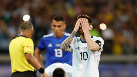 <p>               Argentina's Lionel Messi touches his face before scoring from a penalty spot against Paraguay during a Copa America Group B soccer match at the Mineirao stadium in Belo Horizonte, Brazil, Wednesday, June 19, 2019. (AP Photo/Natacha Pisarenko)             </p>