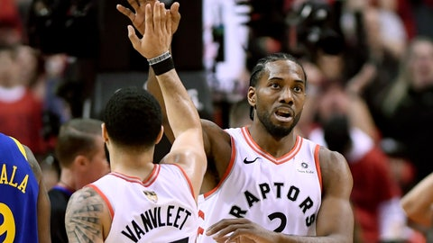 <p>               Toronto Raptors forward Kawhi Leonard (2) and teammate Fred VanVleet (23) celebrate a point against the Golden State Warriors during the first half of Game 2 of basketball's NBA Finals, Sunday, June 2, 2019, in Toronto. (Frank Gunn/The Canadian Press via AP)             </p>