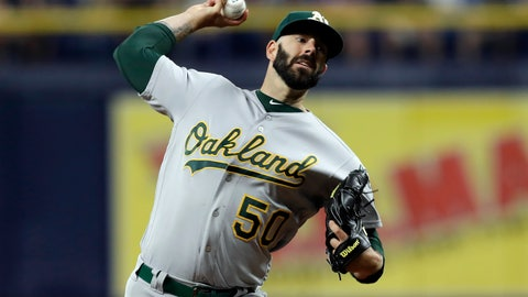 <p>               Oakland Athletics' Mike Fiers pitches to the Tampa Bay Rays during the first inning of a baseball game Tuesday, June 11, 2019, in St. Petersburg, Fla. (AP Photo/Chris O'Meara)             </p>