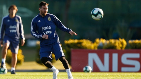 <p>               Argentina's soccer player Lionel Messi attends a training session in Buenos Aires, Argentina, Monday, June 3, 2019, ahead of the Copa America in neighboring Brazil. (AP Photo/Marcos Brindicci)             </p>
