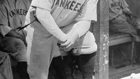 <p>               FILE - In this July 1929 file photo, New York Yankees' Babe Ruth, who was injured, stands in the dugout during the baseball team's game at Cleveland. A Babe Ruth road jersey dating to 1928-30 has sold at auction for $5.6 million. Hunt Auctions, which handled Saturday's sale, says the price breaks a record for the most expensive piece of sports memorabilia ever sold. A Ruth jersey from 1920 previously sold for $4.4 million. (AP Photo, File)             </p>