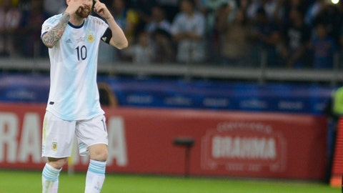 <p>               Argentina's Lionel Messi gestures during a Copa America Group B soccer match against Paraguay at the Mineirao stadium in Belo Horizonte, Brazil, Wednesday, June 19, 2019. (AP Photo/Eugenio Savio)             </p>