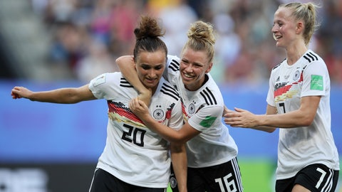 <p>               Germany's Lina Magull, left, celebrates with teammates Linda Dallmann, middle, and Lea Schueller after scoring her side's first goal during the of the Women's World Cup quarterfinal soccer match between Germany and Sweden at Roazhon Park in Rennes, France, Saturday, June 29, 2019. (AP Photo/David Vincent)             </p>