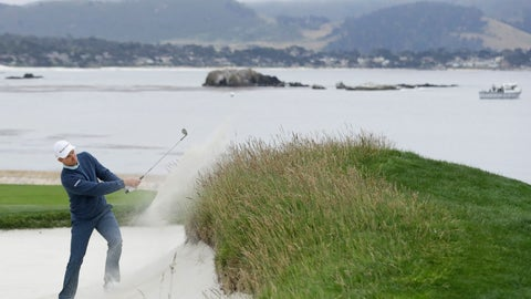 <p>               Justin Rose, of England, hits out of the bunker on the 18th hole during the third round of the U.S. Open golf tournament Saturday, June 15, 2019, in Pebble Beach, Calif. (AP Photo/Marcio Jose Sanchez)             </p>