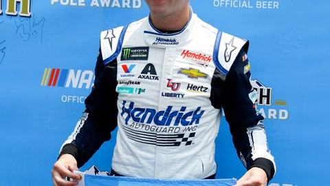 <p>               William Byron poses poses with the pole award after qualifying first for Sunday's NASCAR Cup Series auto race at Pocono Raceway, Saturday, June 1, 2019, in Long Pond, Pa. (AP Photo/Matt Slocum)             </p>
