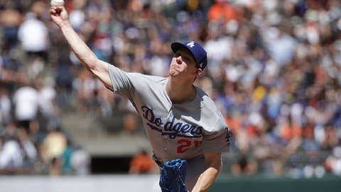 <p>               Los Angeles Dodgers pitcher Walker Buehler throws against a San Francisco Giants during the seventh inning of a baseball game in San Francisco, Sunday, June 9, 2019. (AP Photo/Jeff Chiu)             </p>