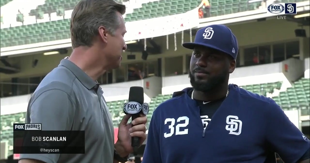 Franmil Reyes talks after his multi-home run performance