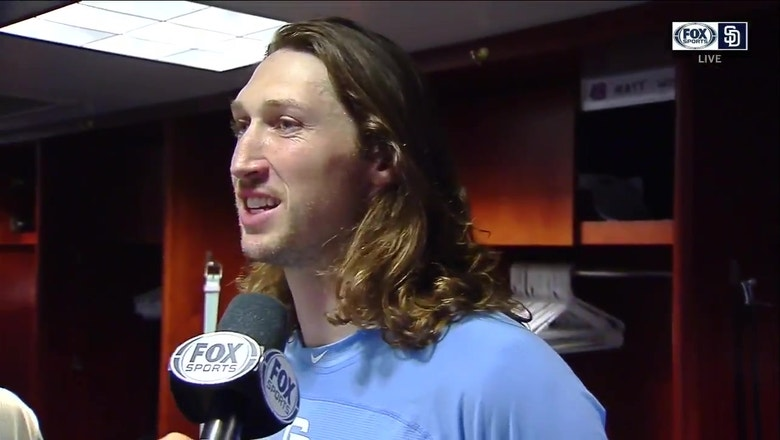 Matt Strahm talks after delivering the go-ahead RBI