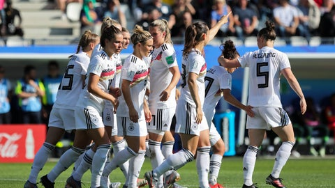 <p>               Germany players celebrate after teammate Sara Daebritz scored their side's second goal during the Women's World Cup round of 16 soccer match between Germany and Nigeria at Stade del Alpes in Grenoble, France, Saturday, June 22, 2019. (AP Photo/Laurent Cipriani)             </p>