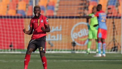 <p>               DR Congo's Chancel Mangulu Mbemba celebrates his team's second goal the African Cup of Nations group A soccer match between DR Congo and Uganda at Cairo International Stadium in Cairo, Egypt, Saturday, June 22, 2019. (AP Photo/Hassan Ammar)             </p>