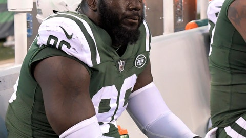 <p>               FILE - In this Nov. 26, 2017, file photo, New York Jets defensive end Muhammad Wilkerson sits on the bench during the second half of an NFL football game against the Carolina Panthers, in East Rutherford, N.J. Former New York Jets defensive end Wilkerson is charged with driving while intoxicated after his arrest in New York City. A police spokesman says Wilkerson was arraigned Saturday, June 1, 2019,  in Manhattan Criminal Court and released on his own recognizance. (AP Photo/Bill Kostroun, File)             </p>