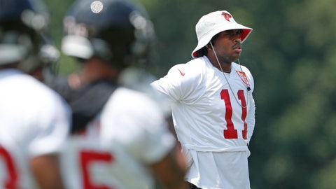 <p>               Atlanta Falcons wide receiver Julio Jones (11) watches from the sideline during NFL football practice Tuesday, June 11, 2019, in Flowery Branch, Ga. (AP Photo/John Bazemore)             </p>