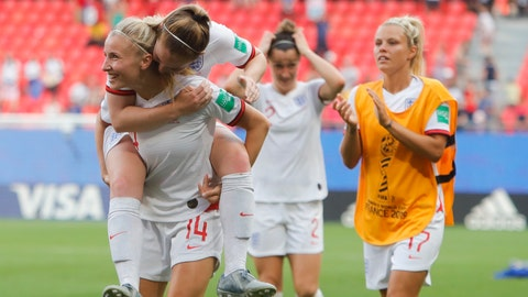 <p>               England players celebrate at the end of the Women's World Cup round of 16 soccer match between England and Cameroon at the Stade du Hainaut stadium in Valenciennes, France, Sunday, June 23, 2019. England beat Cameroon 3-0. (AP Photo/Michel Spingler)             </p>