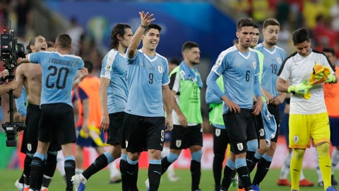 <p>               Uruguay's Luis Suarez (9) and teammates acknowledge the fans at the end of a Copa America Group C soccer match against Chile at the Maracana stadium in Rio de Janeiro, Brazil, Monday, June 24, 2019. (AP Photo/Silvia Izquierdo)             </p>