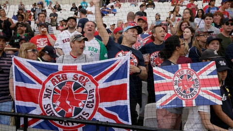 <p>               Fans cheers during the Boston Red Sox batting practice in London, Friday, June 28, 2019. Major League Baseball will make its European debut with the New York Yankees versus Boston Red Sox game at London Stadium this weekend. (AP Photo/Tim Ireland)             </p>