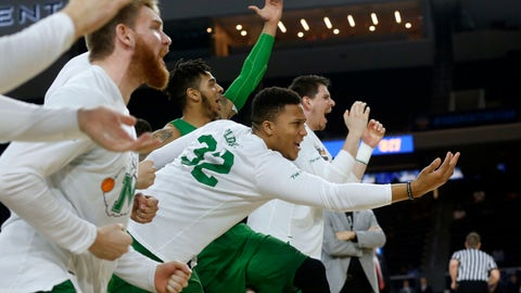 <p>               FILE - In this Saturday, March 10, 2018, file photo, then-Marshall guard Phil Bledsoe (32) and the Marshall bench react to a 3-point shot against Western Kentucky during the second half of the NCAA Conference USA basketball championship game in Frisco, Texas. Confusion over the new rule allowing college basketball players to sign with agents has led to uncertainty for Bledsoe, now at Division II Glenville State in West Virginia. (AP Photo/Michael Ainsworth, File)             </p>