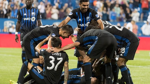 <p>               Montreal Impact players celebrate a goal by Orji Okwonkwo against the Portland Timbers during the second half of an MLS soccer match in Montreal, Wednesday, June 26, 2019. (Graham Hughes/The Canadian Press via AP)             </p>