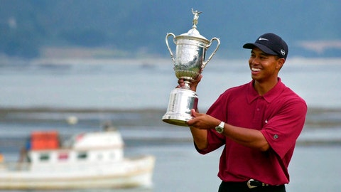 <p>               FILE - In this June 18, 2000, file photo Tiger Woods holds the trophy after capturing the 100th U.S. Open Golf Championship at the Pebble Beach Golf Links in Pebble Beach, Calif. For all his feats, however, nothing compares with Woods' 15-shot victory in the 2000 U.S. Open at Pebble Beach, the largest margin in major championship history. (AP Photo/Elise Amendola, File)             </p>