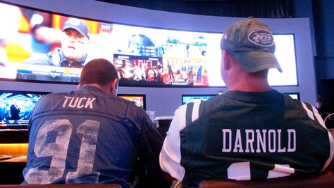 <p>               In this Sept. 9, 2018 photo, customers watch sports on a giant screen at the sports book of the Ocean Resort Casino in Atlantic City, N.J. Panelists at a gambling conference in Atlantic City, on Thursday, June 13, 2019, predicted 90 percent of all US sports betting will be done online or over smart phones within the next 10 years. (AP Photo/Wayne Parry)             </p>